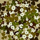 A seamless floral pattern with clovers