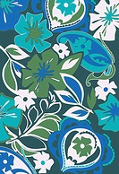 Blue and green tropical flowers