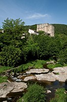 View of river and chateau, Ligne River, Largentiere, Ardeche, Rhone_Alpes, France, may