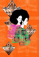 Afro woman design on orange background