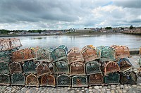 Crab fishing pots, River Tweed, Berwick_upon_Tweed, Northumberland, England, june