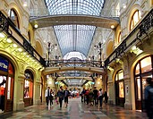 The elegant interiors of GUM Commercial Arcade Glavnyi Universalnyi Magazin, in Moscow