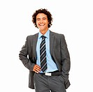 Handsome young businessman smiling while isolated on white