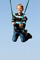Happy child on a swing