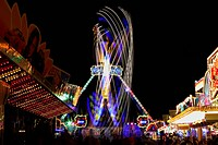 Fairground ride at night, amusement park, marksmen's festival, Biberach, Upper Swabia, Baden-Wuerttemberg, Germany, Europe
