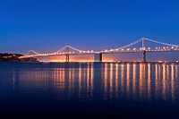 Oakland Bay Bridge at dusk, San Francisco, California, USA, North America