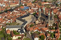 Aerial view, Bamberg Cathedral and Neue Residenz castle, Bamberg, Upper Franconia, Bavaria, Germany, Europe