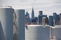 USA, New York, Industrial area and city skyline