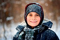 Winter portrait of a cute kid