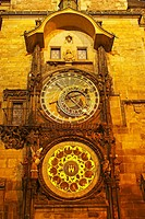 Night Lights Of The Astronomical Clock On The Old Town Hall In The Old Town Square Or Stare Mesto, Prague Hlavni Mesto Praha Czech Republic