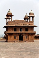 Fatehpur Sikri, Uttar Pradesh, India  Diwan-i-Khas Hall of Private Audience of Emperor Jalal el-Din Akbar  Chhatris on Corners of Roof