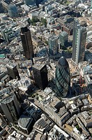 City center of London with The Gherkin, UK, aerial photo