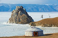 Russia, Siberia, Irkutsk oblast, Baikal lake, Maloe More little sea, frozen lake during winter, Olkhon island, Shaman rock