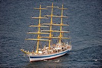 Sail training ship Mir on the Baltic Sea near Rostock, Germany, aerial photo