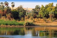 African village in the desert at River Nile near Aswan, Egypt