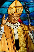 Stained Glass Window Portrait Of Pope John John Paull Ii Inside The Wieliczka Salt Mine, Cracow Poland