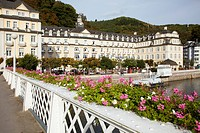 Blossoming flowers in planters along the railing of the promenade along river lahn, bad ems rheinland_pfalz germany