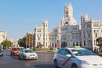 Plaza de cibeles and the headquarters of madrid town hall, madrid spain