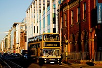 A double decker bus and modern architecture, dublin city county dublin ireland