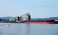 Cargo ship & the port of Longview WA.