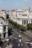 Panoramic view of the Calle de Alcala from the top of the central post office, Madrid, Spain, Europe