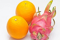 Dragon fruit and oranges