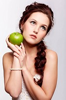 retro girl with apple