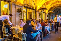 Paris, France, French Bistro, Café Restaurant, Place des Vosges, in the Marais