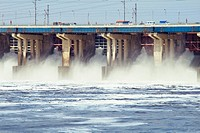 Reset of water on hydroelectric power station on river