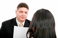 Business coaching concept. Young woman being interviewed for a j