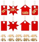 Set of labels on ropes with percent discounts. Part 1