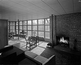 Wernicke residence, 1944 Nov. 10. , Interior, living room with fireplace negative , Interior and exterior views of the Wernicke residence of designed ...
