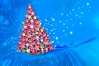 blue background Christmas tree