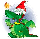 Green funny dragon wearing a Santa hat