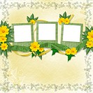 Congratulation to the holiday with slides and yellow flowers