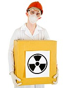 Scientist with a radioactive box