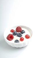 Bowl of yogurt with assorted berries
