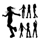 7 silhouettes of a girl in difrent psitions