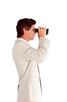 Radiant businessman using binoculars