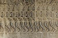Ausschnitt aus den Flachreliefs der Westlichen Gallerie, Darstellung der Schlacht von Kurukshetra aus der hinduistischen Sage Mahabharata, Tempelanlag...