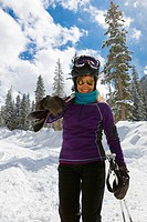 Caucasian woman skiing