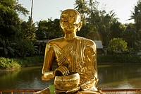 A gold Buddhist statue, Yangon, Burma