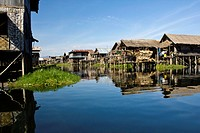A village of stilt houses, Inle Lake, Burma
