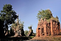 An old crumbling temple in an Indein Village, Inle Lake, Burma
