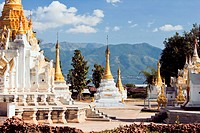 An ornate Buddhist temple, Inle Lake, Burma