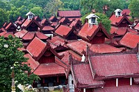 The red rooftops of the Glass Palace, part of the Mandalay Palace, Mandalay, Burma
