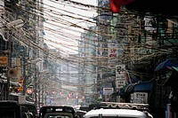 Traffic on a city street in Yangon, Burma