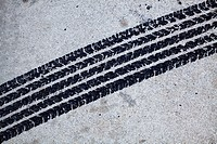 Detail of a tire mark on concrete