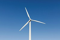 Low view of a wind turbine