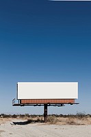 A blank billboard in a desert
